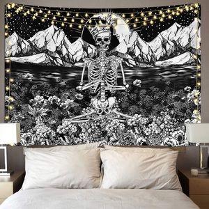 Skull Floral Meditation Skeleton Tarot Tapestry
